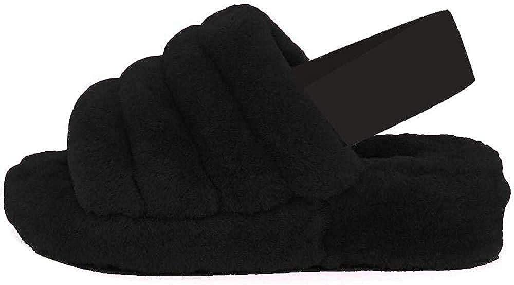 Gnpolo Womens Fuzzy Slippers Fur Slides House Fluffy Slide Slipper Girls Women Whinter Shoes