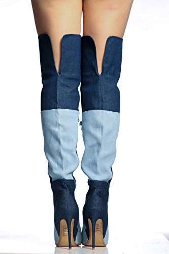 AIWEIYi Denim Stilettos High Thigh the Pointed toe High Boots Knee Over Womens Blue Heels Boots 4rwqC4