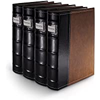 Bellagio-Italia Brown Leather Disc Storage Binder Perfect For CDs, DVDs, Blu-Rays, and Video Games - 4 Pack