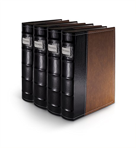 Bellagio-Italia Brown Leather Disc Storage Binder Perfect For CDs, DVDs, Blu-Rays, and Video Games - 4 (Handstands Cd)
