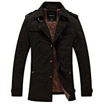 Wantdo Mens Cotton Trench Jacket withFleece