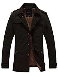 Wantdo Men's Cotton Trench Jacket with Soft Fleece Lining