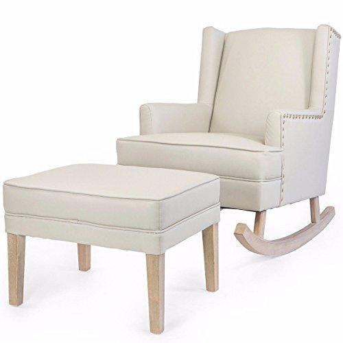 Baby Nursery leather Rocker Rocking Chair Glider & Ottoman Set Cushion Beige