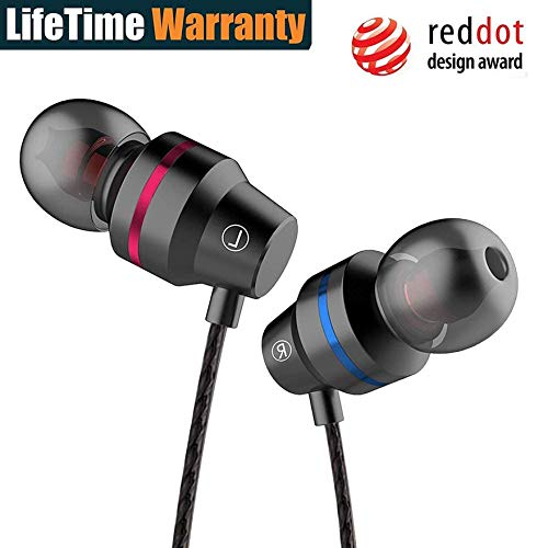 3.5mm Metal Wired Stereo Earphone in-Ear Headphones with Microphone Volume Control Earphone, Sports Earphones for Gym, Running and Workout