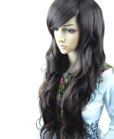 MelodySusie Dark Brown Curly Wig - Fascinating Women Long Curly Wig with Wig Cap and Wig Comb (Dark Brown)