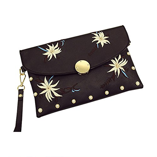 Womens PU Leather Envelope Clutch Evening Bag Crossbody Purse Handbag Detachable Shoulder Chain - Spacious & Chic Formal Fashion - Various Colors (Clutch Style Evening Bag)