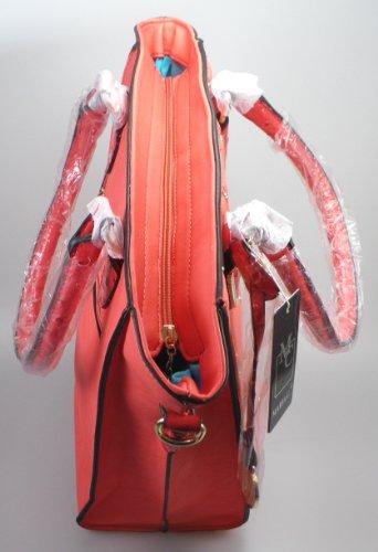 NB24 Tasche, Damentasche, Schultertasche, Umhängetasche, Beutel, Freizeit-Shopper, rot, ca. 29 x 32 x 15 cm, mit Reißverschluss (35)