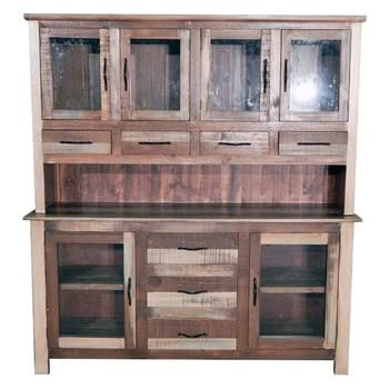 Slatted Wood Medium 2 Piece China Cabinet