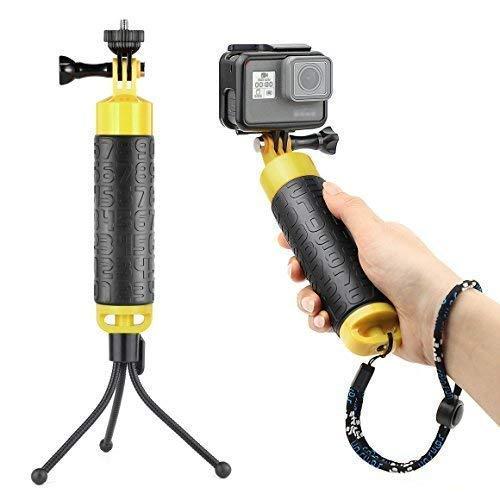 SOONSUN Waterproof Floating Hand Grip Monopod Pole for GoPro Hero 7, 6, 5, 4, Session, 3+, 3, 2, 1 Cameras - Includes Mini Flexible Tripod, 1/4 Tripod Adapter, Adjustable Lanyard, Thumb Screw