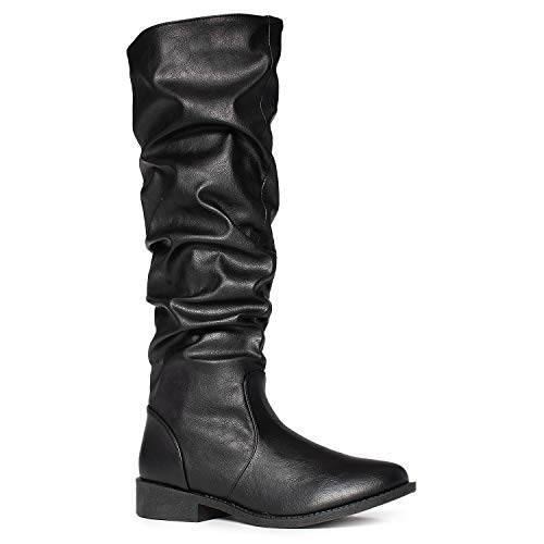 RF ROOM OF FASHION Women's Soft Vegan Slouchy Knee High Hidden Pocket Boots Black Pu - No Pocket