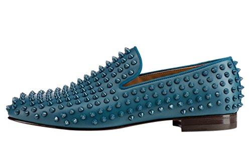 14 7 Loafers Men US Low Size Rivets Heel Cyan Punk Slip On FSJ Shoes Fashion Casual qOxtwnSg7