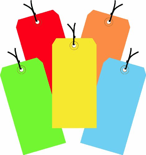 Aviditi Assorted Color 13 Point Shipping Tags Pre-Strung, 4 3/4