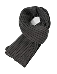 CACUSS Men's Long Thick Cable Cold Winter Warm Scarf Soft Knitted Neckwear(Beige)