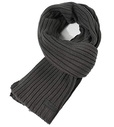 (CACUSS Men's Long Thick Cable Cold Winter Warm Scarf Soft Knitted Neckwear(Dark)