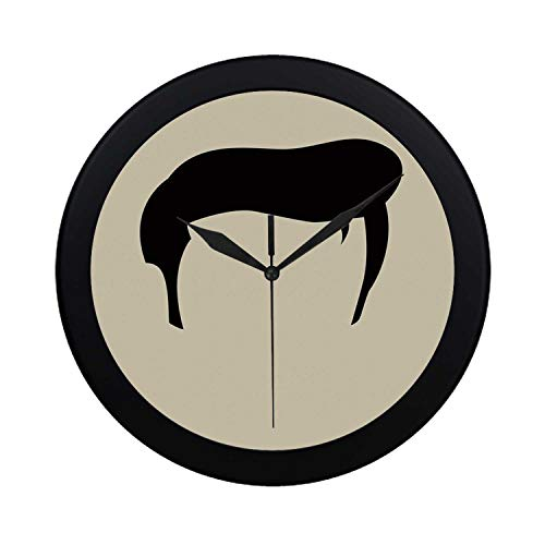 C COABALLA Elvis Presley Decor Circular Plastic Wall Clock,Simple Graphic of Rockn Roll Kings Hairstyle Cool Iconic Musician Decorative for Home,9.65