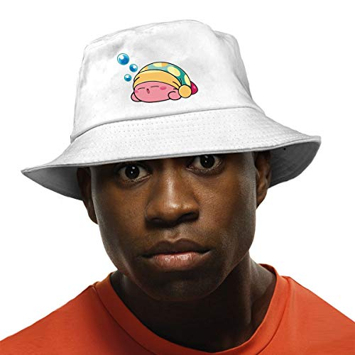 Funny Cute Sleeping Kirby Novelty Colorful Packable Reversible Printed Fisherman Bucket Sun Hat for Unisex White