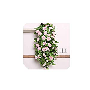 240cm Artificial Flowers Vine Home Wedding Garden Decoration Rose Fake Flowers Rattan String Festival Hanging Silk Flower TSLM1,Light Pink 31
