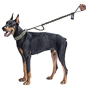 OneTigris Tactical Dog Training Bungee Leash with Control Handle Quick Release Nylon Leads Rope (Ranger Green)