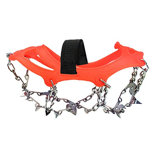 Climbing Ice Rock - Outdoor Enhanced Mountaineering Anti-Skating Claw Snow Shoe Cover 18 Teeth Stainless Steel Ice Climbing Rock Climbing Hiking Anti-Skid Shoe Chain (Color : Orange, Size : M)