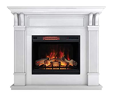 DragonBlaze Electric Fireplace & Premium Mantel - Bella White Electric Fireplaces with 5200 BTU Infrared Heater - Large, White Electric Fireplace Heater - 3D Flame Effects - Safe and Maintenance Free