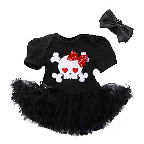 Kirei Sui Baby Red Heart Pirate Skull Bodysuit Tutu Large Black