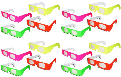 16 Pairs Prism Diffraction Neon Fireworks Glasses - For Laser Shows, Raves