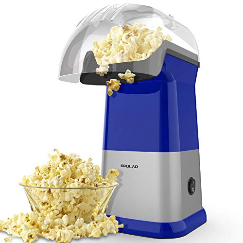 OPOLAR Fast Hot Air Popcorn Popper, No Oil Popcorn Maker Machine with Measuring Cup and Removable Top Cover, Ideal for Watching Movies and Holding Parties in Home, Healthy, 1200W, BPA-Free, Blue