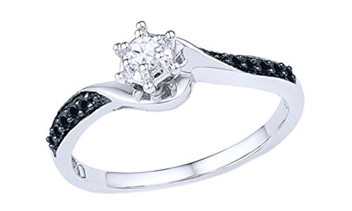 AFFY Black & White Natural Diamond Swirl Promise Ring in 10K Solid White Gold (0.16 Ct)
