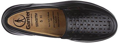 Ganter SENSITIV HELGA, Weite H - Zapatillas de casa de cuero mujer gris - Grau (schwarz 0100)
