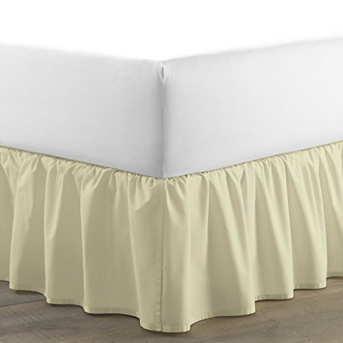 LUXURIOUS LIFE 300 Threads Egyptian Cotton Classic Single Ruffle Bed Skirt (Ivory, King, 13 Inches Drop Length) Dust Ruffled BedSkirt