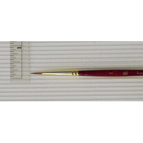 Princeton Heritage, Golden Taklon Brush for Watercolor & Acrylic, Series 4050 Round Synthetic Sable, Size - 1 Princeton