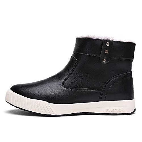 YAN Herrenschuhe Winter Martin Stiefel Deck Schuhe Rutschfeste Schneeschuhe, High-Top-Loafer & Slip-Ons Wanderschuhe Täglich Wanderschuhe,schwarz,41