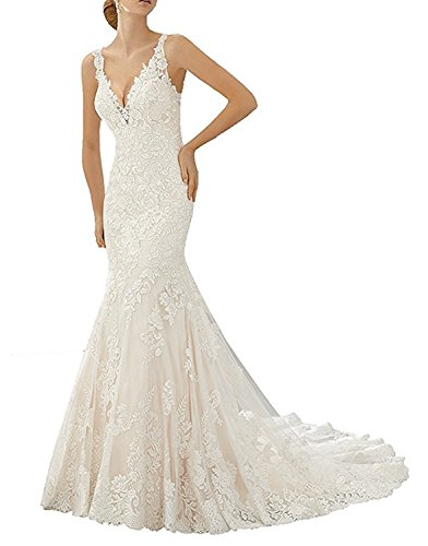 Bodycon Ivory Beach Wedding Bridal Gown Sleeveless Trumpet Party Dress Long Size 12