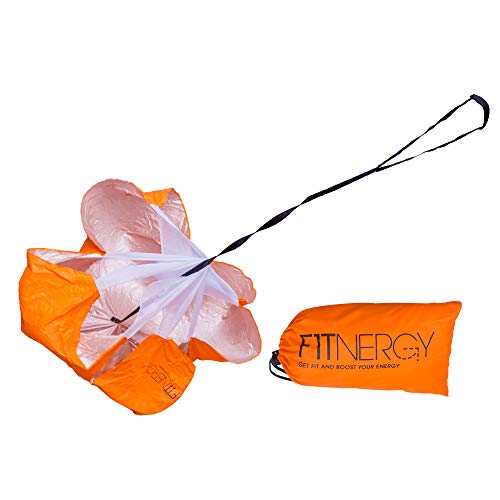 F1TNERGY Running Resistance Parachute Durable 56 Orange Speed Sprint Training Chute - Free Carrying Bag - Maximize & Explosive Acceleration - Soccer Football Agility Ladder Speed Rope