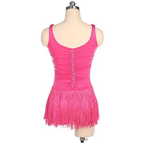 Professionale Da Xiaoy Di Per Concorso Pattinaggio Artistico Senza Donna Ragazze Vestito Maniche Pink Costume Figura qvwvH
