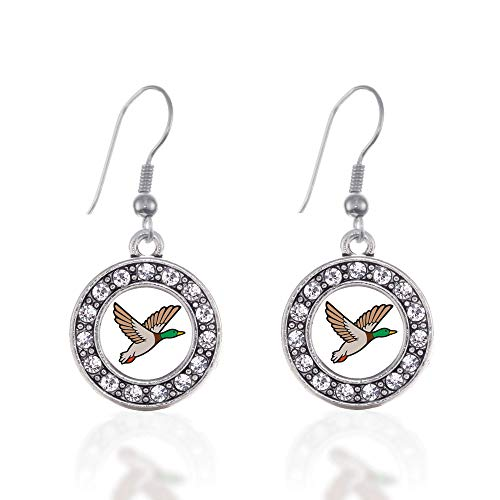 (Inspired Silver - Duck Season Charm Earrings for Women - Silver Circle Charm French Hook Drop Earrings with Cubic Zirconia Jewelry)