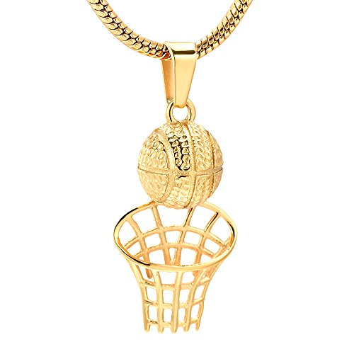 Personalized Basketball Hoop Stainless Steel Cremation Urn Necklace Ashes Holder Memorial Jewelry For Teen/Men (Gold)
