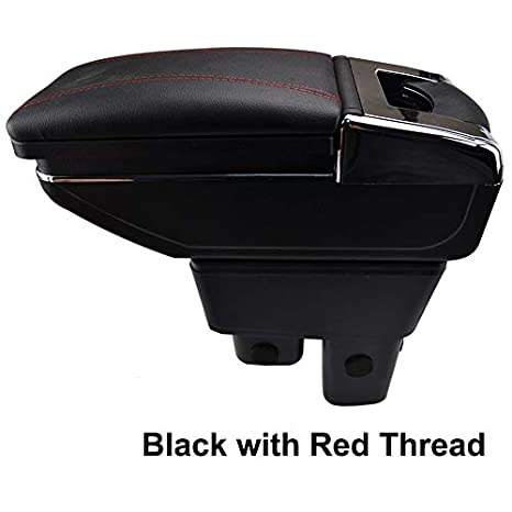 Rotatable Armrest For Fit Jazz 2009-2013 Black Thread Storage Box Arm Rest XUKEY