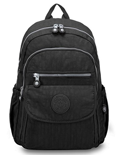 Oakarbo Mini Travel Daypack Nylon Cute Junior School Backpack (1503 Black)