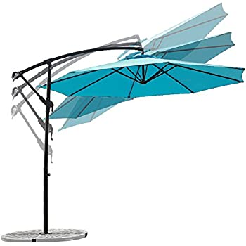 This Item C Hopetree 10 Foot Offset Cantilever Patio Umbrella, Outdoor  Hanging Umbrella With Cross Base, 250gsm Polyester Canopy, Light Blue