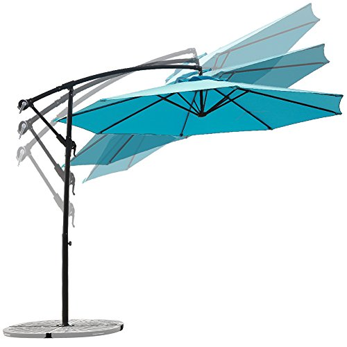 C-Hopetree 10 Foot Offset Cantilever Patio Umbrella, Outdoor Hanging Umbrella with Cross Base, 250gsm Polyester Canopy, Light Blue (Patio Paving Sets)
