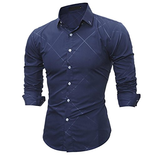 Cheap Featurestop Stripe Plaid Print Men's Fashion Slim Fit Formal Casual Long-Sleeved Button Front Shirt Top Blouse supplier
