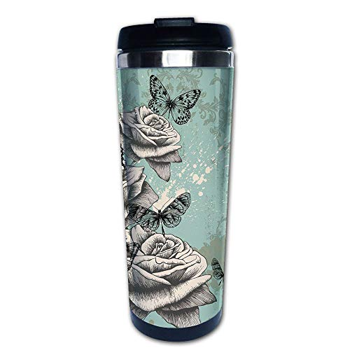 Body Quencher Rose - Stainless Steel Insulated Coffee Travel Mug,Hand Drawing Style Roses Butterflies Vintage,Spill Proof Flip Lid Insulated Coffee cup Keeps Hot or Cold 13.6oz(400 ml) Customizable printing