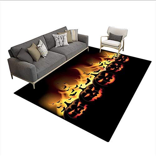 Floor Mat,Happy Halloween Image with Jack o Lanterns on Fire with Bats Holiday,Area Carpet,Black Scarlet 6'6