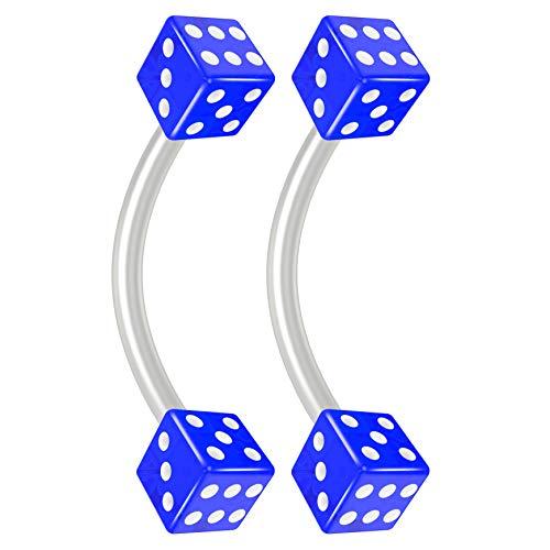 - Bling Piercing 2pc 16g Flexible Bioflex Curved Barbell 3mm Blue Dice 10mm (3/8) Bioplast J-Curve Bent Banana Bar