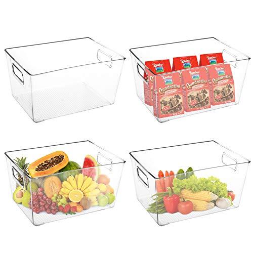 TOPZEA 4 Pack Plastic Storage Organizer Bins, Large Clear Freezer Storage Container Bins with Handles Food Storage Bin…