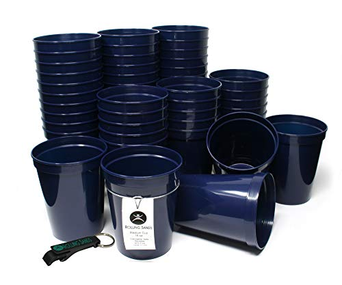 Rolling Sands 16 Ounce Reusable Plastic Stadium Cups Navy, Bulk 50 Pack, Made in USA, BPA-Free Dishwasher Safe Plastic Tumblers and Bottle Opener