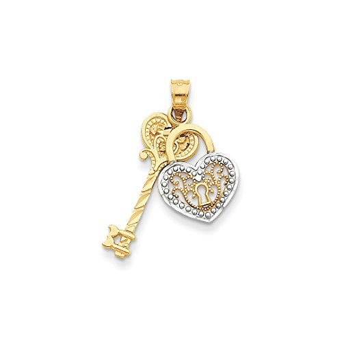 ICE CARATS 14kt Yellow Gold Key Heart Lock Pendant Charm Necklace Fine Jewelry Ideal Gifts For Women Gift Set From Heart -