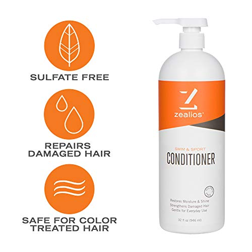 Zealios Sulfate Free Swim & Sport Conditioner (32 oz) - Vegan, Gluten & Cruelty Free for Daily Use