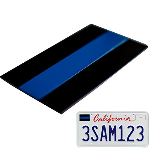 Aluminum Thin Blue Line License Sticker Blue Lives Matter Decal | In Support of Police Officers and Law Enforcement (1 Pack)